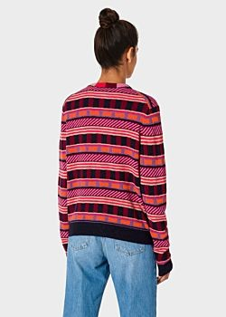 Paul Smith Womens Patterned Stripes Cardigan Dark Navy/Multi