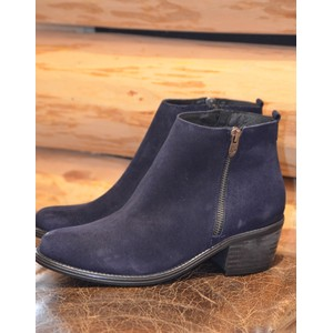 Uribe Zip Ankle Boot-Cuban Heel Navy