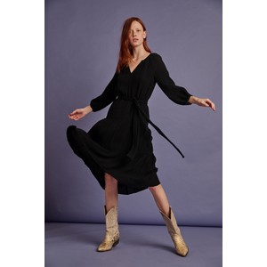 Samar Balloon Sleeve Textured Dress Black