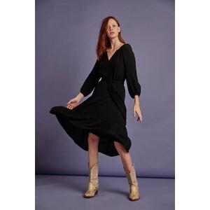 Velvet Samar Balloon Sleeve Textured Dress Black
