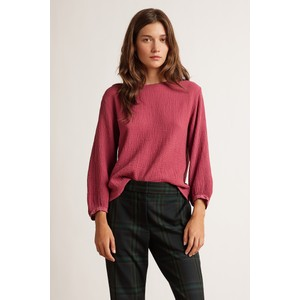 Velvet Eva Balloon Sleeve Textured Top Raspberry