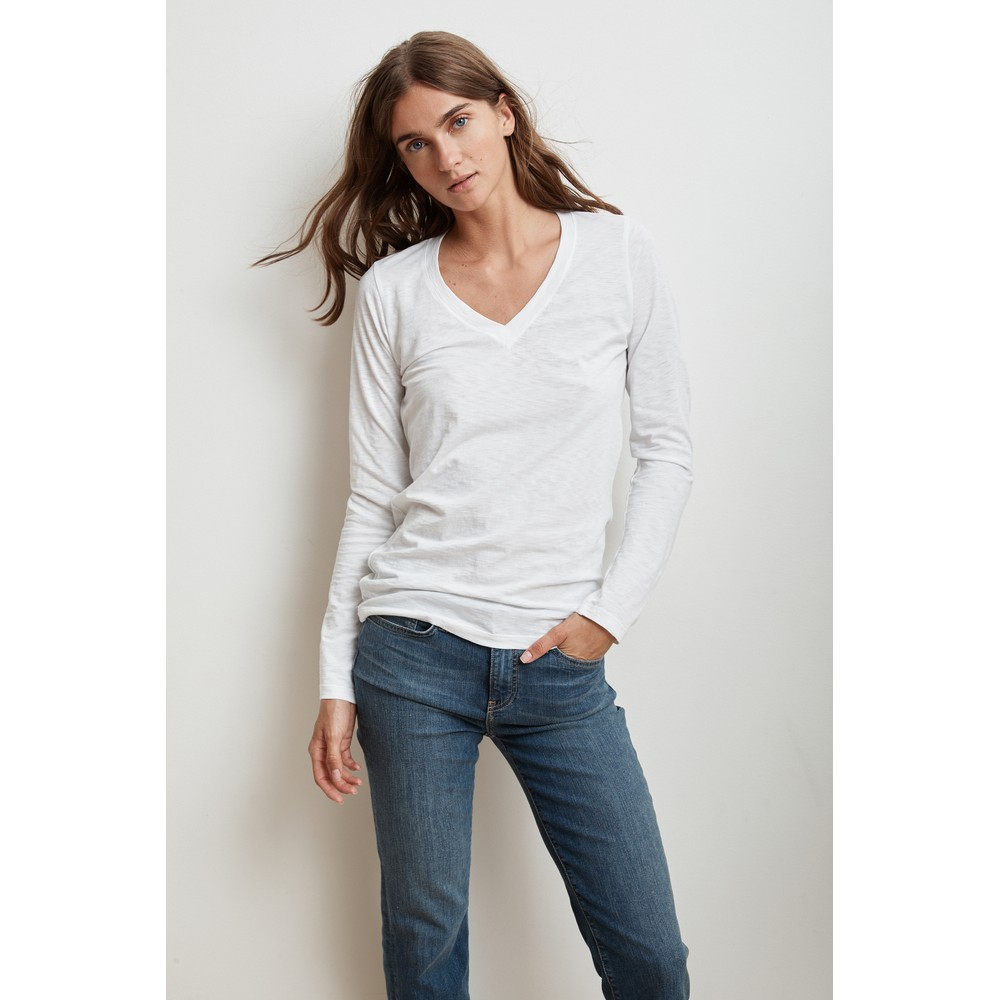 Velvet Bridget Long Sleeve V Neck Top White