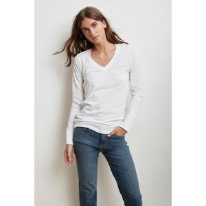 Velvet Bridget L/S V Neck Top in White