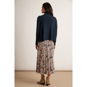 Velvet Willa Leaf Print Midi Skirt Nude/Blue/Orange