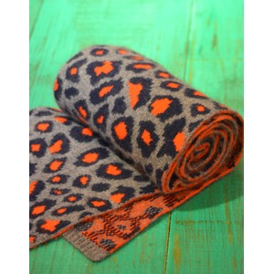 Leopard Knitted Scarf Grey/Navy/Orange
