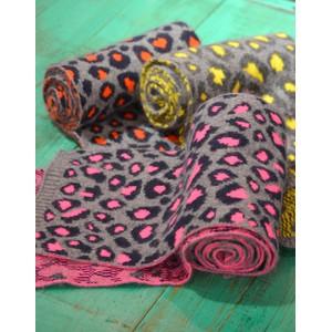 Somerville Leopard Knitted Scarf Grey/Navy/Orange