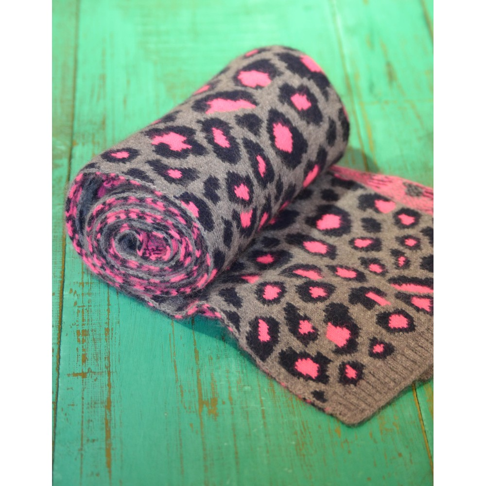 Somerville Leopard Knitted Scarf Grey/Navy/Pink