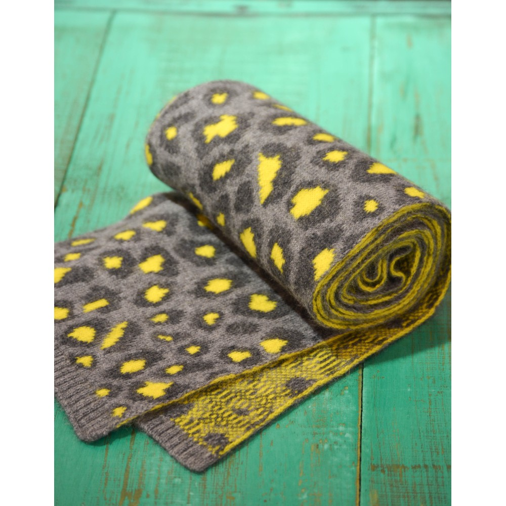 Somerville Leopard Knitted Scarf Grey/Yellow