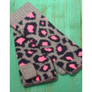 Somerville Leopard Knitted Wrist Warmer in Grey/Navy/Pink