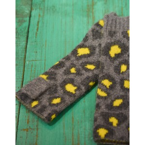 Somerville Leopard Knitted Wrist Warmer in Grey/Yellow