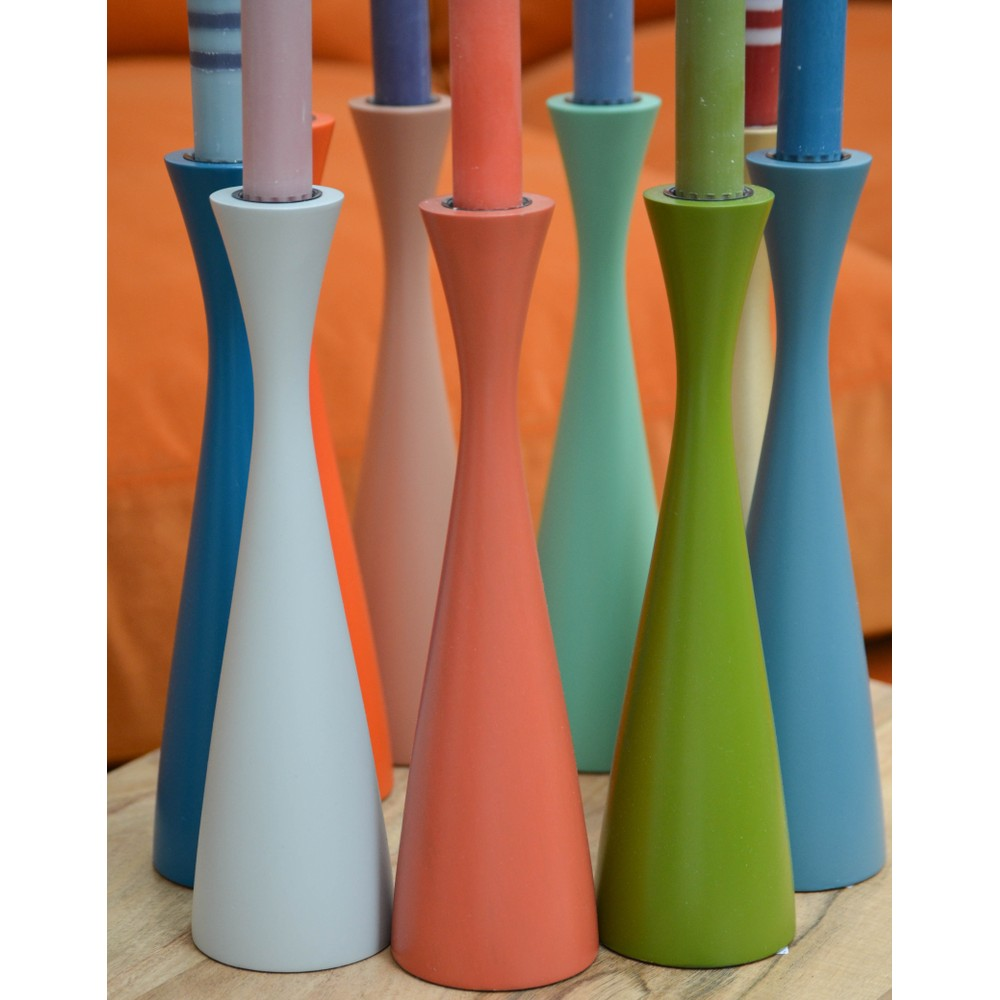 British Colour Standard Tall Candleholder Old Rose