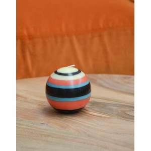 Small Striped Ball Candle Blue/Black/Jasmine/Rust