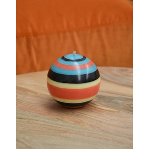Large Striped Ball Candle Blue/Black/Jasmine/Rust