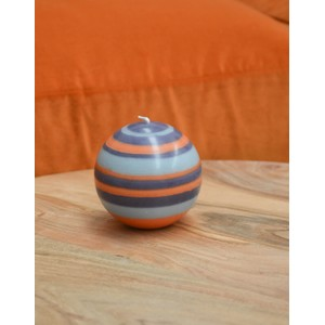 Large Striped Ball Candle Marigold/Gunmetal/Opaline