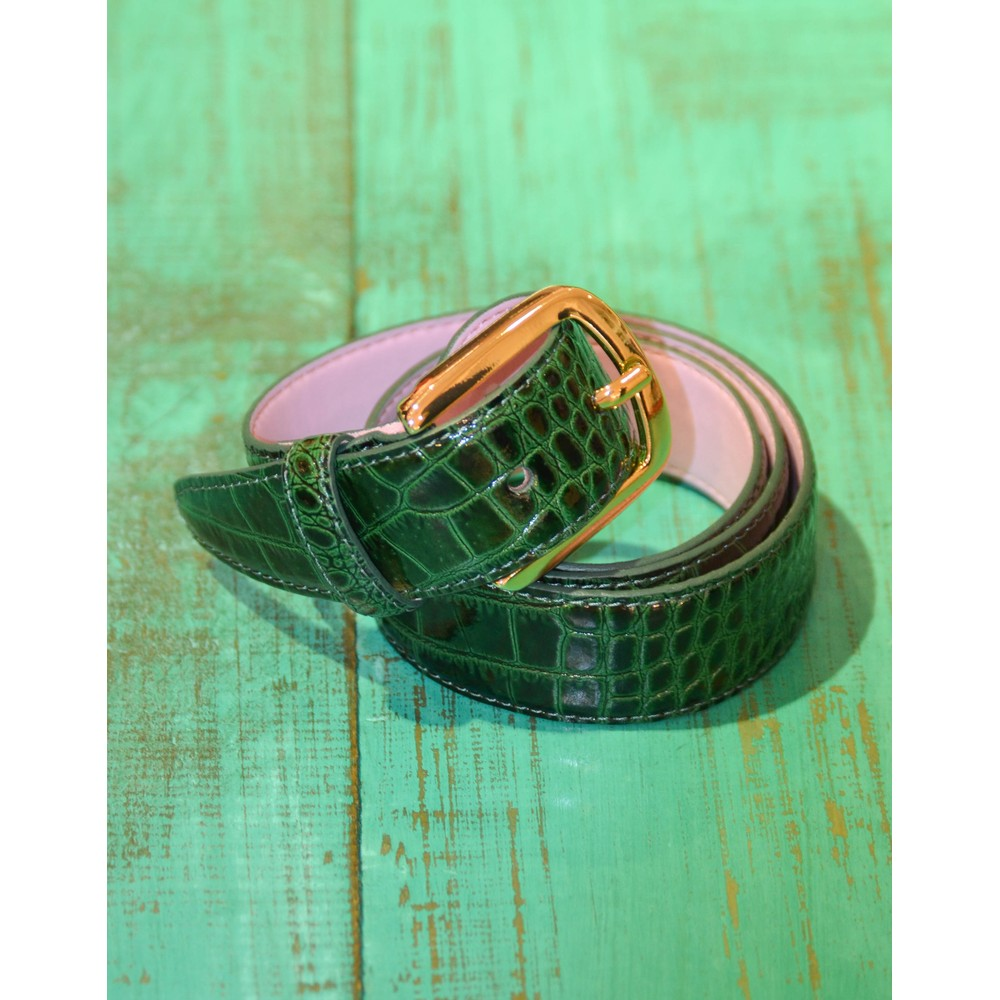 Essentiel Antwerp Triniti Croc Print Belt Bosforus Green
