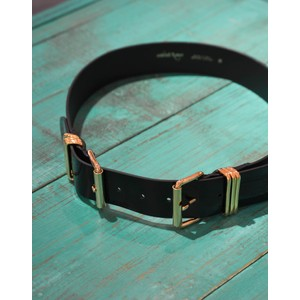 Ottod'Ame Double Buckle Patent Belt Black
