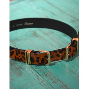 Double Buckle Leopard Belt Black/Brown