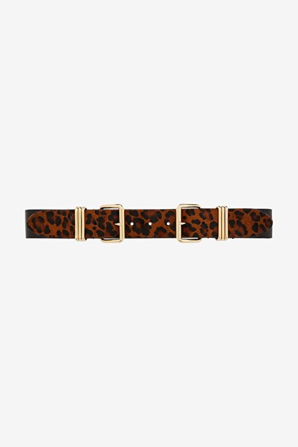 Ottod'Ame Double Buckle Leopard Belt Black/Brown
