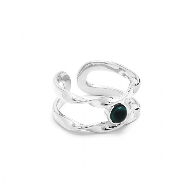 Louise Kragh N Roll Ring-Adjustable Silver/Marble Green