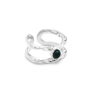 N Roll Ring-Adjustable Silver/Marble Green