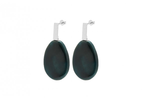 Louise Kragh Unik Earrings Silver/Marble Green