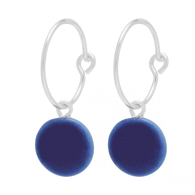 Louise Kragh Megadot Earrings Silver/Royal Blue