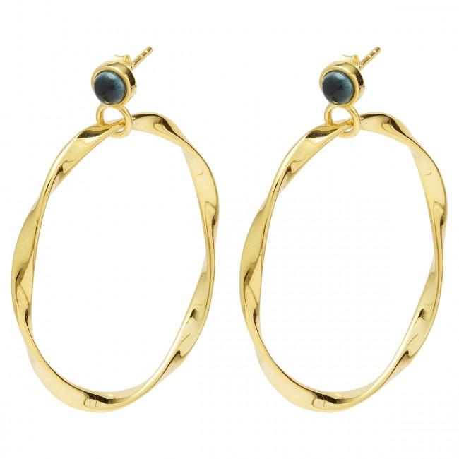 Louise Kragh N Roll Earrings Gold/Marble Green