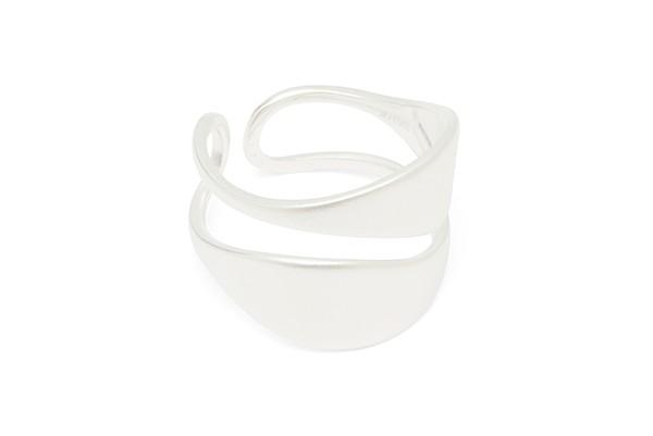 Louise Kragh Leaf Ring-Adjustable Matt Silver