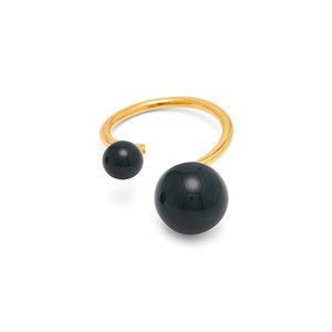 Pearl Ring-Adjustable Gold/Marble Green