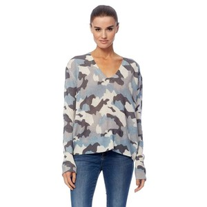 Theo V-neck Camo Fine Knit Chalk/Blue
