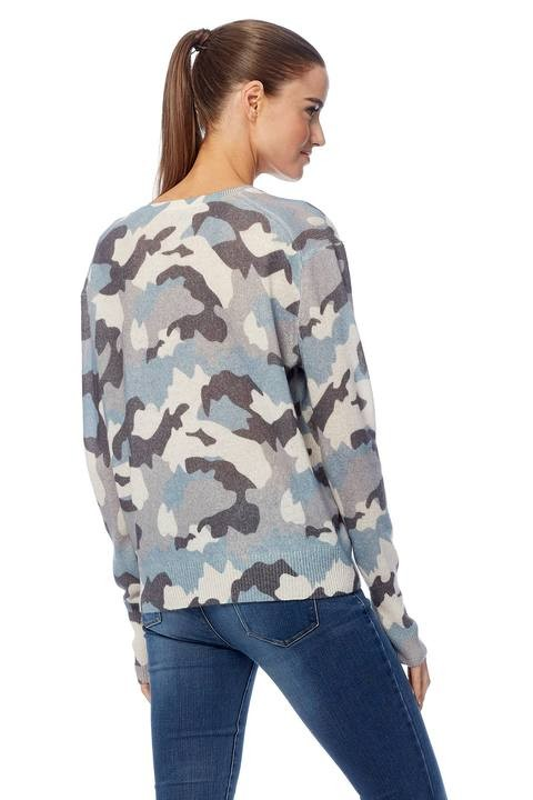 360 Sweater Theo V-neck Camo Fine Knit Chalk/Blue