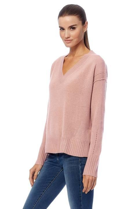 360 Sweater Daria V/N Vent Hem Soft Knit Seashell