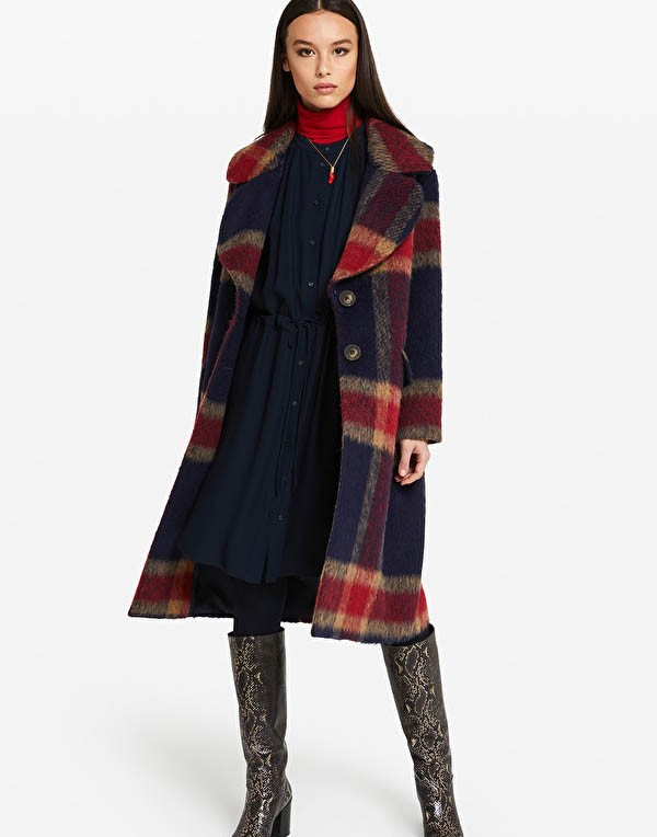 Ottod'Ame Fluffy Check Coat Navy/Red/Camel