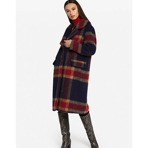 Fluffy Check Coat Navy/Red/Camel