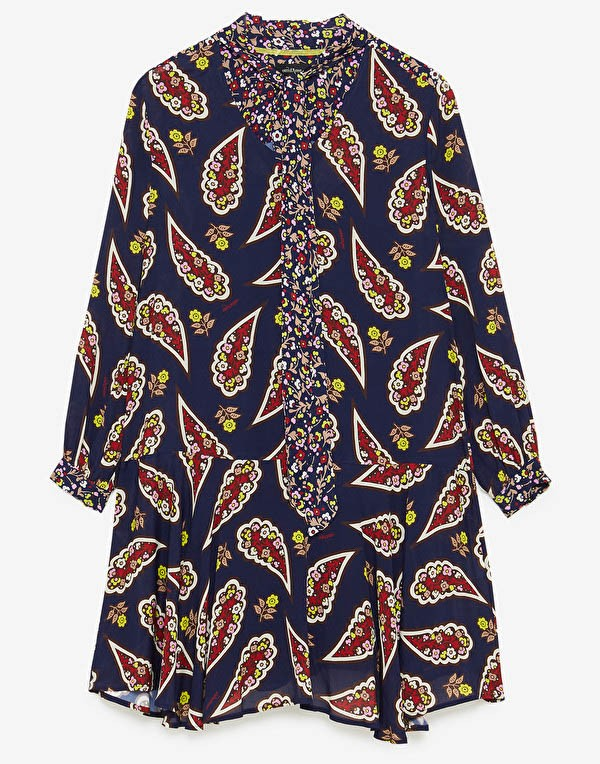 Ottod'Ame Paisley Print Tie Neck Dress Dark Blue/Multi