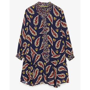 Paisley Print Tie Neck Dress Dark Blue/Multi