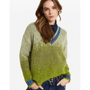 V Neck Colour Contrast Jumper Green/Blue