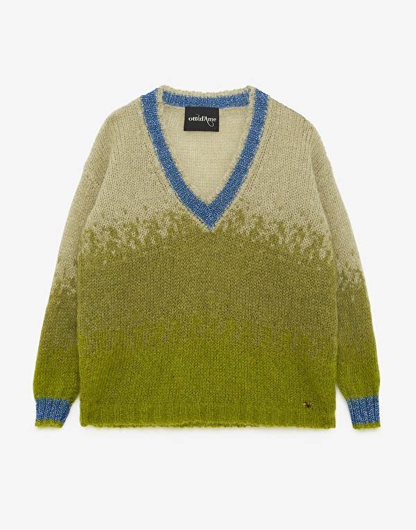 Ottod'Ame V Neck Colour Contrast Jumper Green/Blue