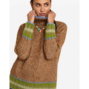 Contrast Trim Roll Neck Jumper Toffee/Blue/Green