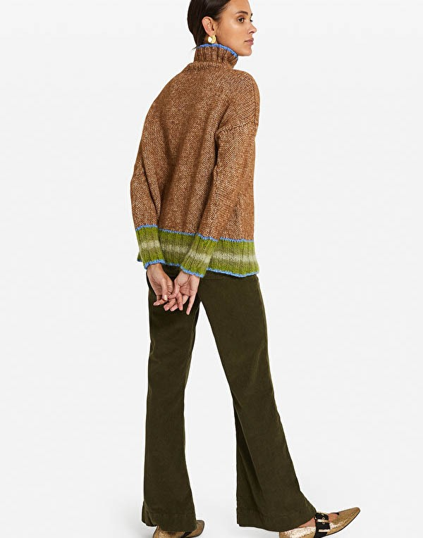 Ottod'Ame Contrast Trim Roll Neck Jumper Toffee/Blue/Green