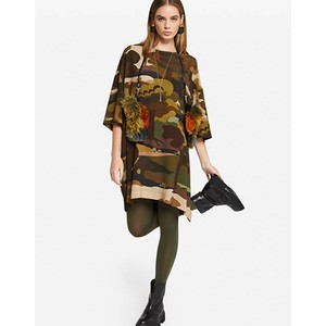 Long Sleeve Forest Camouflage Boxy Dress Military Green/Multi