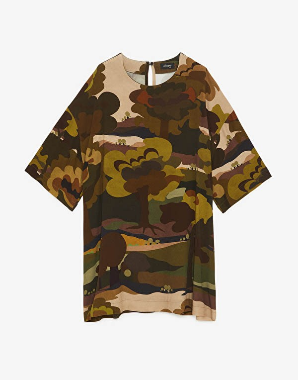 Ottod'Ame Long Sleeve Forest Camouflage Boxy Dress Military Green/Multi