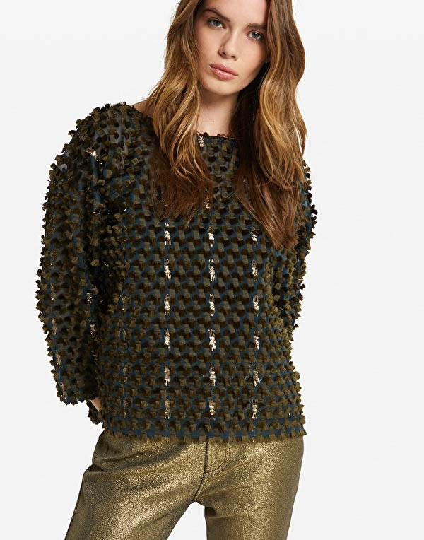 Ottod'Ame Long Sleeve Textured Sheer Top Military Green