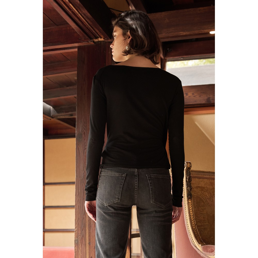 Velvet Janessa Long Sleeve Wrap Top Black