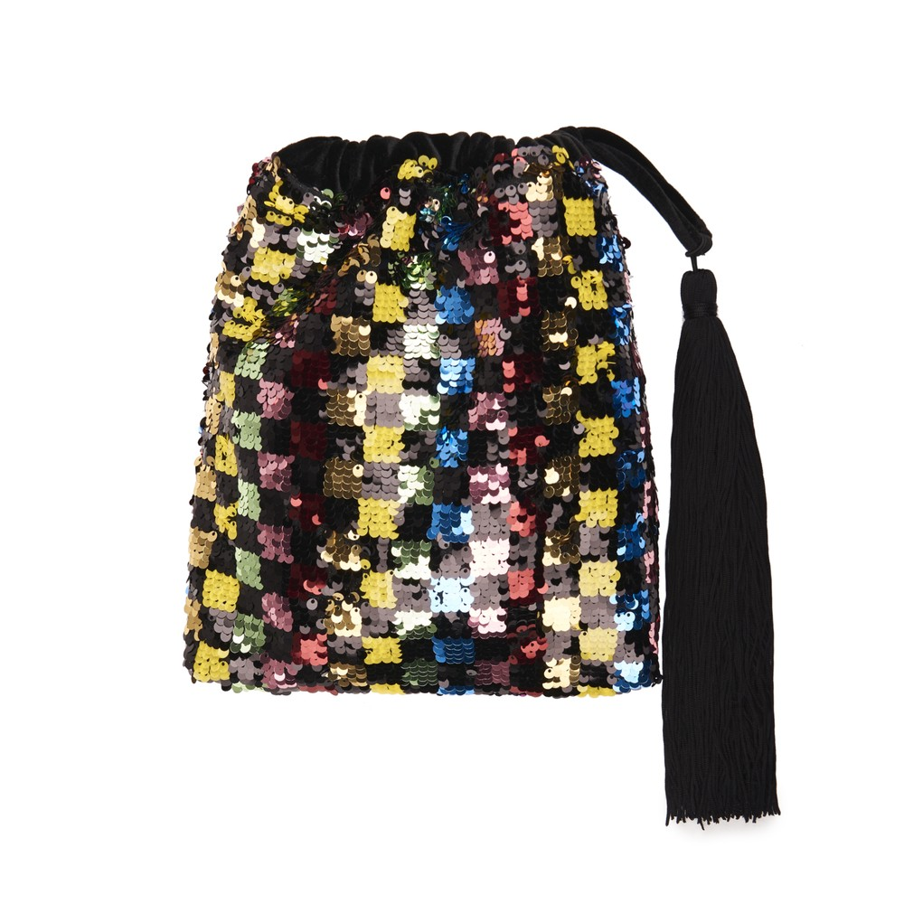 Essentiel Antwerp Viona Sequin Squares Bag Black/Multi