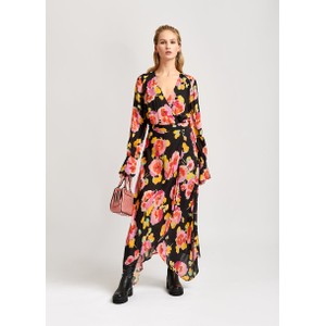 Valoumi Floral Wrap Dress Black/Multi