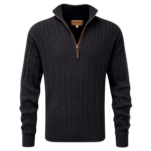 Cotton/Cashmere Cable 1/4 Zip Charcoal