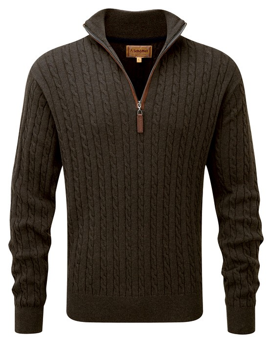 Schoffel Country Cotton/Cashmere Cable 1/4 Zip Loden Green