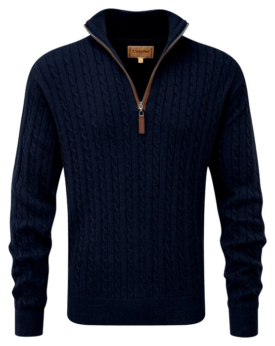 Schoffel Country Cotton/Cashmere Cable 1/4 Zip Navy