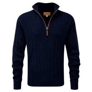 Cotton/Cashmere Cable 1/4 Zip Navy